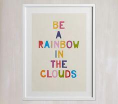 Rainbow In A Cloud Wall Art By Minted artist Hanna Mac. Available on Pottery Barn Kids Rainbow Room Kids, Rainbow Bedroom, Rainbow Nursery Decor, Rainbow Wall, Rainbow House, Rainbow Theme, Kids Wall Decor, Art Wall Kids, Art Decor