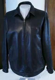 Polo Ralph Lauren Genuine Leather zip Jacket lined Coat Men's Large  Bomber/(XL?