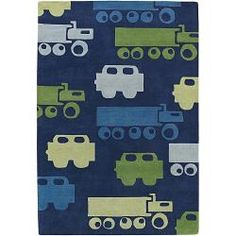 @Overstock - High-quality construction highlights this area rug, hand-tufted in India using premium New Zealand wool. This rug features a fun vehicles design in shades of blue, grey, yellow and green against dark blue background.http://www.overstock.com/Home-Garden/Hand-tufted-Kinders-Blue-New-Zealand-Wool-Rug-79-x-106/5501212/product.html?CID=214117 $344.24