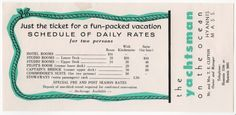1956 Daily Rates for The Yachtsman Hotel in Hyannis, MA on Cape Cod