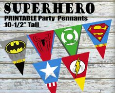 INSTANT DOWNLOAD Large Superhero Birthday Party by OurSecretPlace, $7.99