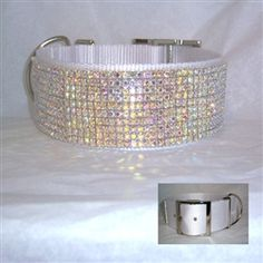 2 inch white nylon big dog Collar decorated with our gorgeous multifaceted AB crystal Gorgeous!