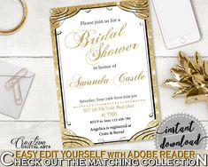 Editable Bridal Shower Invitation in Glittering Gold Bridal Shower Gold And Yellow Theme, join us, gold shine, shower activity - JTD7P #bridalshower #bride-to-be #bridetobe