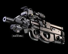 "Custom FNH PS-90 Triple Rail Semi Auto Carbine ""Bullpup"" RifleAccessories: Custom Triple Rail for Accessories, Ambidextrous Charging Handles, Fake Suppressor,  Eotech Holographic Sight w/ 2X Magnifier,Insight M6 Flashlight w/ Laser and 2 x 50 Round Magazines by Scott M Tallyn"