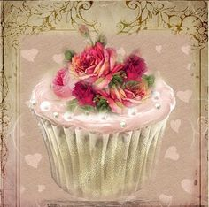 A sweet treat for you from my Etsy Shoppe. I love cupcakes. making them, eating them, decorating them. anything to do with cupcakes i. Vintage Labels, Vintage Cards, Vintage Paper, Vintage Tea, Vintage Pictures, Vintage Images, Cupcake Torte, Rose Cupcake, Cupcake Fondant