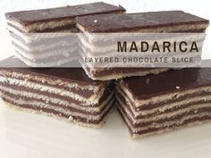 Croatian Recipes in English: Here is how to make Madarica - a chocolate layered slice. Madarica is always a hit, especially with the kids.