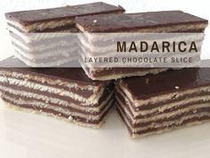 Croatian Recipes: Madarica {Layered Chocolate Slice} via Bosnian Recipes, Croatian Recipes, Hungarian Recipes, Bosnian Food, Croatian Cuisine, German Recipes, Sweet Recipes, Cake Recipes, Dessert Recipes