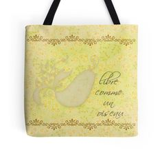 Free As A #Bird in French Collage #tote #bag by #Dragonfire #Graphics