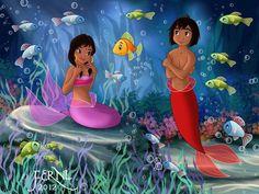 mogli as mermaid Disney Crossovers, Disney Movies, Disney Characters, Disney Princesses, Disney Stuff, Dark Disney, Beatrix Potter, Betty Boop, Disney And Dreamworks