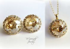 Gold Champagne Bridal Earrings Necklace Set by BeYourselfJewelry