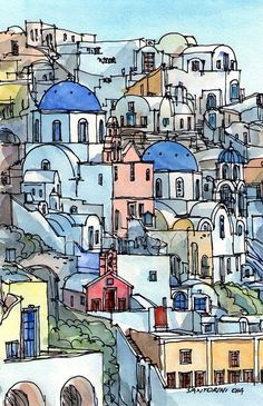 Santorini Oia 2 Greece Art print from an original watercolor painting - Art Painting Pen And Watercolor, Watercolor Landscape, Watercolor Paintings, Painting Art, Watercolours, Greece Art, Oia Greece, Watercolor Architecture, Kunst Poster