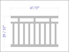 The Craftsman Panel uses the turn of the century design used on Craftsman Style Houses. Our panels are designed to be used with a number of different railing systems. Depending on which system you use, plan on adding approximately 7 Porch Railing Designs, Front Porch Railings, Deck Railings, Stair Railing, Porch Balusters, Outdoor Handrail, Porch Awning, Porch Designs, Railing Ideas