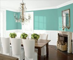 Look at the paint color combination I created with Benjamin Moore. Via @benjamin_moore. Wall: Skydive CSP-700; Trim & Wainscot: Distant Gray 2124-70; Ceiling: Distant Gray 2124-70.