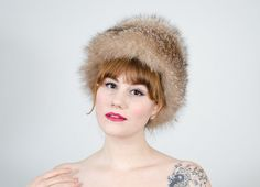 1950s vintage hat / crystal fox fur hat / by PoppycockVintage