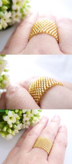 Classic Gold Beaded Ring Band by JeannieRichard