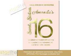 Blush Pink and Gold Sweet 16 Invitation A Stunning Modern Eclectic Sweet Sixteen (16) Invitation in Blush Pink with simulated Gold Foil accents CHOICE OF DIGITAL FILE (you print option) OR PRINTED PACKAGE, $20