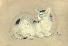 Chat assis, les pattes repliées - cat sitting with legs folded | by Tsuguharu Foujita