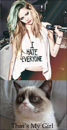 Grumpy Avril. Grumpy Cat. Avril Lavigne: Joke: Mix-up