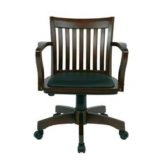 Ospdesigns Espresso Wood Brown Bankers Chair With Padded Seat Chairseat Padsoffice