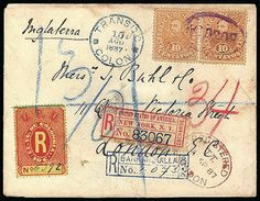 """Panama (Via Colon) Colombia 1881, Registration, 10c red on orange. Manuscript """"6392"""" number, used with Colombia 10c orange (131) pair cancel..."""