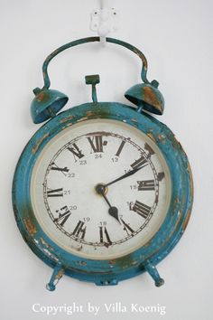 .a beautiful blue vintage and stressed clock