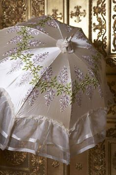 Cream satin parasol embroidered with satin stitch stems of Wisteria, Circa 1890- New York Vintage Linens