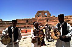 Libyan men playing the zukrah bagpipes,Libya North Africa.