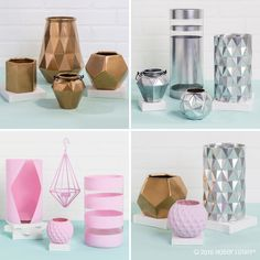 Give your favorite décor pieces a fab new look! 1) Using painter's tape, tape designs on smooth glass or ceramic vases. Be sure to smooth down the tape edges with your finger so paint won't drip. 2) Spray paint vases with a light coat and let dry. Repeat light coats as needed for desired shade. 3) Clean edges with a straight edge.
