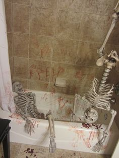Each year, I have more and more pressure to come up with a better and scarier bathroom scene. Does anyone have any ideas that could be done in a small bathroom? Here are a few pics of something I have done in the past...