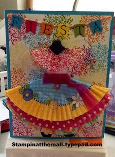handmade card ... bright and pretty dress for a fiesta ... little banner spells FIESTA ...