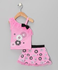 Look at this #zulilyfind! Pink Flower Asymmetrical Top & Skirt - Infant & Toddler by Young Hearts #zulilyfinds
