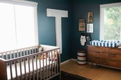 Beautiful inspiring boys nursery - love the huge T on the wall!