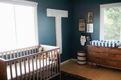 Beautiful inspiring boys nursery - love the huge T on the wall!