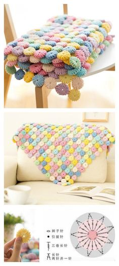 Crochet Afghan Crochet Macaron Stitch Blanket Video Tutorial - This blanket with macarons is very special and attractive. You make one with the Crochet YoYo Puff Free Pattern and Video Tutorial. Crochet Afghans, Crochet Diy, Crochet Motifs, Manta Crochet, Crochet Home, Love Crochet, Crochet Blanket Patterns, Crochet Crafts, Crochet Flowers