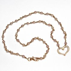 Gold Heart Necklace Freshwater Pearl Necklace Tin Cup by FizzCandy