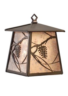 7.5 Inch W Whispering Pines Lantern Wall Sconce - 7.5 Inch W Whispering Pines Lantern Wall SconceA single Pine Cone and branches are depicted on eachside of this lantern pendant handcrafted in the USA by Meyda artisans. This nature inspired fixture is finished in Antique Copper and has Silver mica panels. Theme: RUSTIC MISSION LODGE Product Family: Whispering Pines Product Type: WALL SCONCES Product Application: WALL SCONCE -- ONE LIGHT Color: ANTIQUE COPPER/SILVER MICA Bulb Type: MED Bulb…