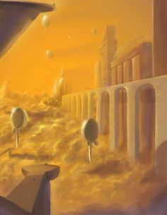 Science Fiction Authors, Far Future, Cloud City, Space Station, Habitats, Sci Fi, Star Wars, Clouds, Painting