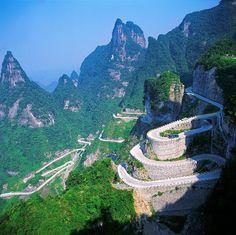 Tianmen Mountain Winding Road in China.