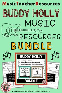 Explore the life and music of BUDDY HOLLY through researching his musical background and life as well as listening to and analysing his songs. A variety of graphic organizers are provided to cater for differentiation within the classroom. Printable PDF's and TpT Easel pages are provided. ♫ ♫ #mtr #musicteacher #musiced #musiceducation Music Teacher Resources