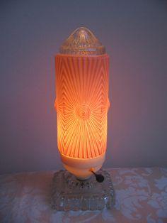 Art Deco Boudoir Lamp PINK Bullet Rocket by vintagenowandthen, $75.00