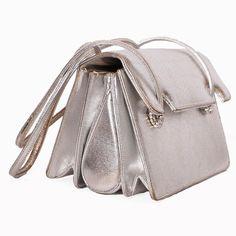Vintage 1960s silver leather Judith Leiber bag.