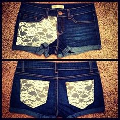 (lace shorts) Omg!!! I really wanna do this to my pants and shorts!!!  Does one of my friends wanna do this as well?