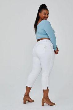 "Plus 24"" Side Slit Crop Skinny Jeans in White"