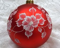 Red Floral MUD Ornament 123