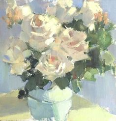 Dianne's Roses by Nancy Franke Oil ~ 12 x 12