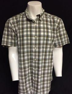 Lucky Brand Tan Green Blue White X-Large Short Sleeve Button Front Shirt XL #LuckyBrand #ButtonFront