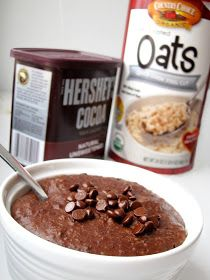 Brownie Batter Oatmeal: •1 cup milk OR 1/2 c almond milk and 1/2 c water OR 1 cup water •1/4 cup quick-cooking steel-cut oats •1 banana, mashed thoroughly •1/2 tsp vanilla extract •2 tbsp cocoa powder •pinch of salt