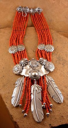 Red African beads necklace with three silver feathers by The Mummy's Bundle