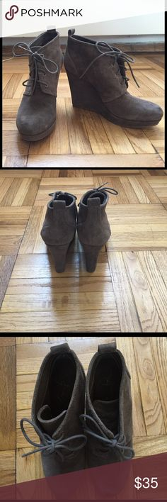 Jessica Simpson Suede Wedge Booties (7.5) Size 7.5 worn once. Like new. True to size. I can ship with original box. Jessica Simpson Shoes Ankle Boots & Booties