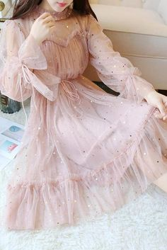 Sparkly Star Long Sleeves Tulle Homecoming Dresses, Charming Short Prom Dress Source by tierrakienzle fancy dresses Mesh Dress, Tulle Dress, Dress Skirt, Pleated Skirt, Girly Outfits, Dress Outfits, Fashion Dresses, Maxi Dresses, Gym Outfits